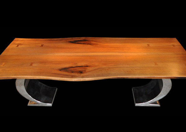 Book-matched Walnut Slab Table with OC Base Stainless Steel