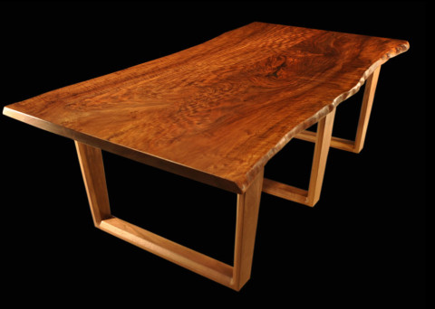 Live-edge Claro-walnut Tall Tree Slab Table with UV-Trestle