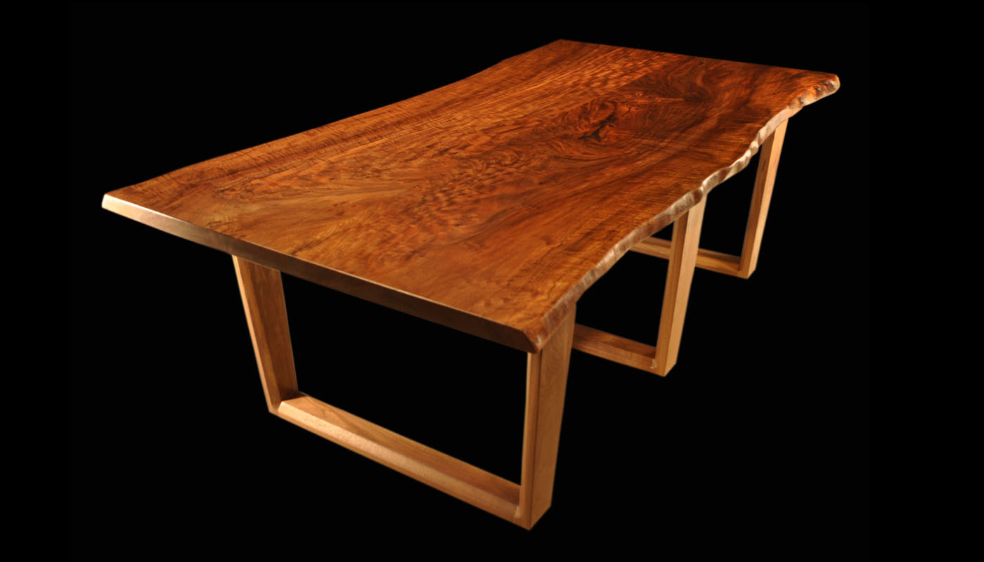 Walnut trestle dining table - Live Edge Claro Walnut Tall Tree Slab Table With Uv Parsons Legs
