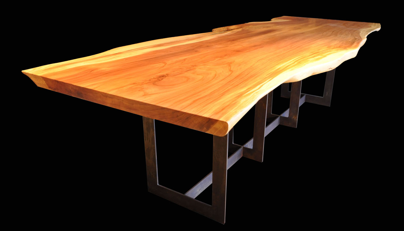 Giant Sequoia Slab Table with Four-U Pedestal