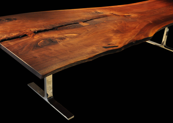 Live-edge Walnut Tall Tree Dining Table with Butterfly Table Joinery cwl