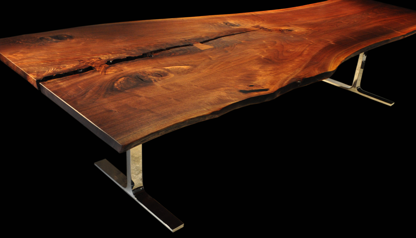 Walnut live edge dining table - Live Edge Walnut Tall Tree Dining Table With Butterfly Table Joinery Cwl