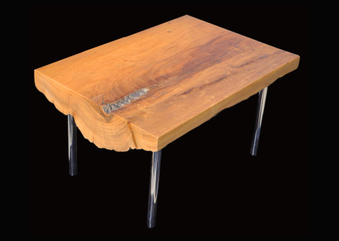 Makha Live-edge Side Table with Mirror Polished Parsons Leg