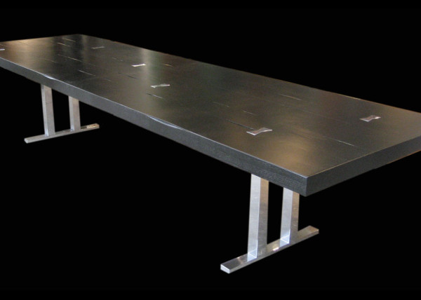 Silver & Black Tall Tree Table Distressedwith Polished Butterfly Inlays