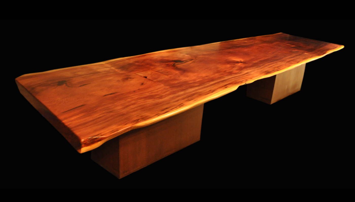 Reclaimed Old Growth 1st Generation Coastal Redwood Slab Table With  Japanese Brown Patina Steel Prism