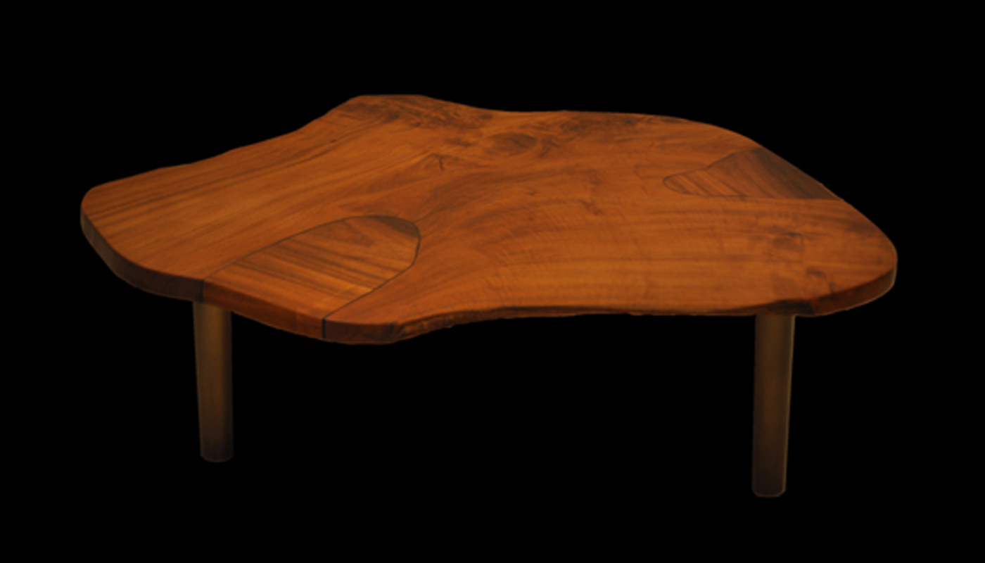 Teak Tree Trunk Cross Section with Bronze Fluted Parsons Leg