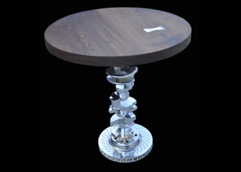 Walnut and Chrome Moto-Table