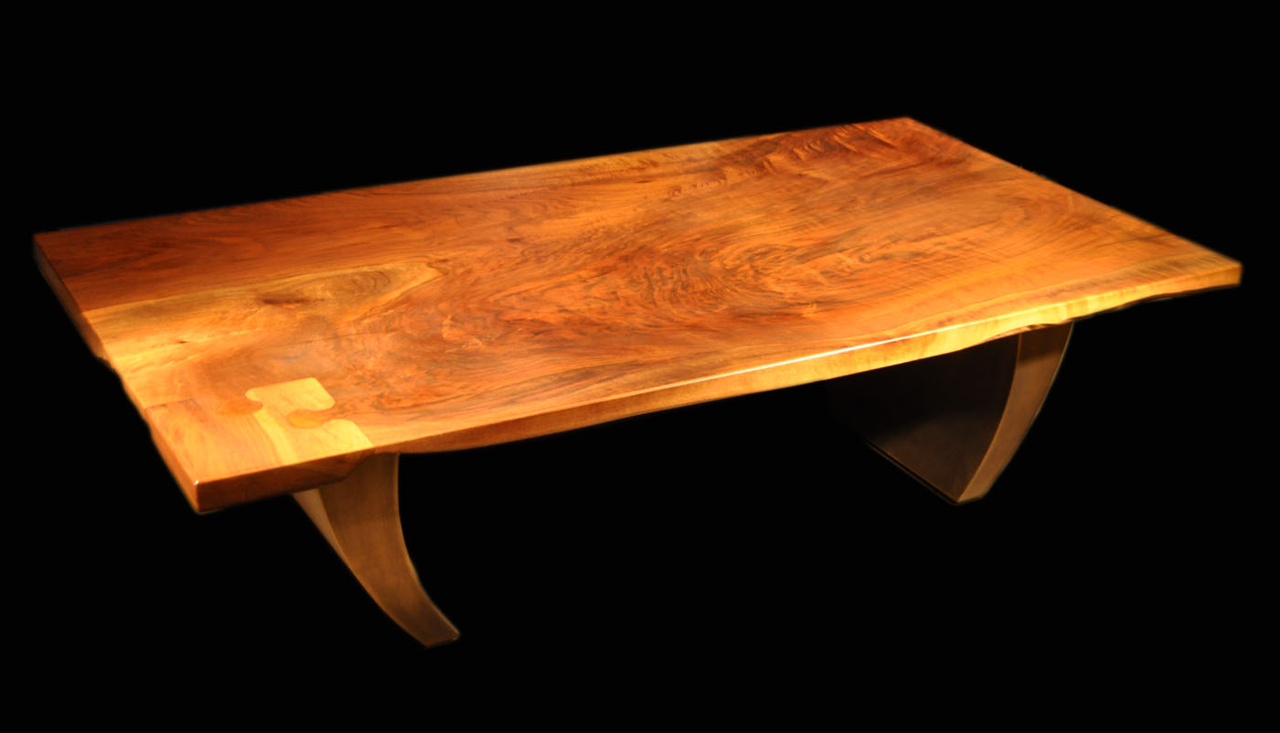 Claro Walnut Coffee Slab Table With Puzzle Piece Inlay And Inspire Bronze  Legs