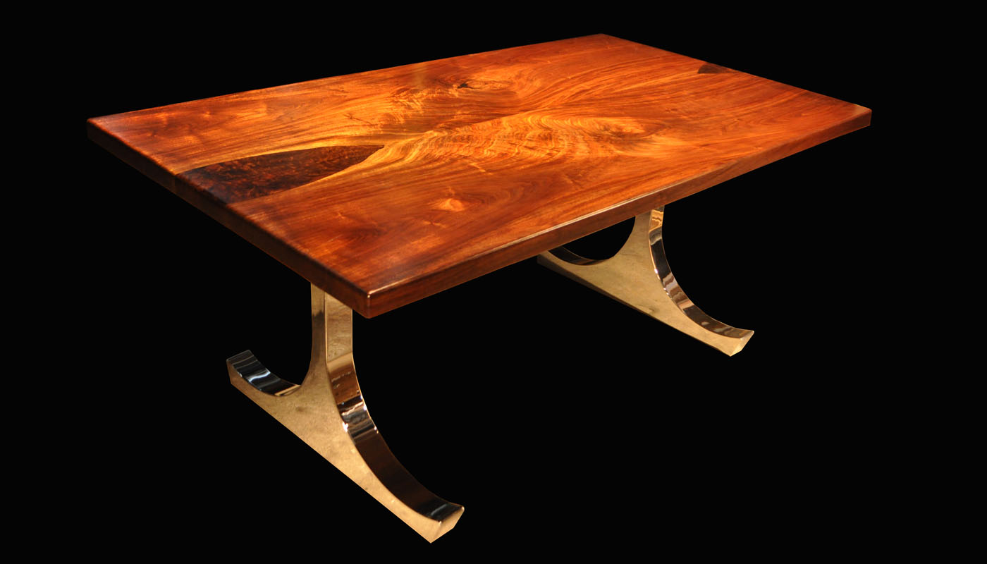Book-matched Walnut with Claro Burl Inlay and Chrome Icon Trestle