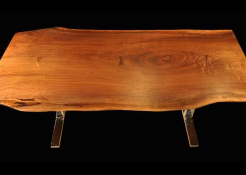 Live-edge Black Walnut Slab Table with Arc-Trestle Legs