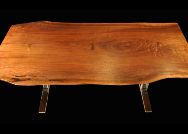 Live-edge Black Walnut Slab Table with Arc-Trestle Legs