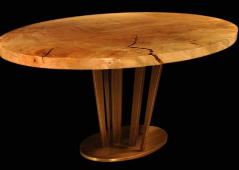 Maple Burl Ellipses with Sunshine Pedestal Oil-rubbed Brass