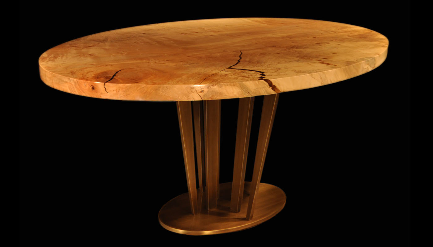 Maple Burl Ellipses with Sunshine Pedestal Oil-rubbed Brass