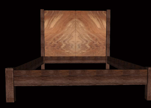 Claro-walnut Book-matched Headboard and Bed
