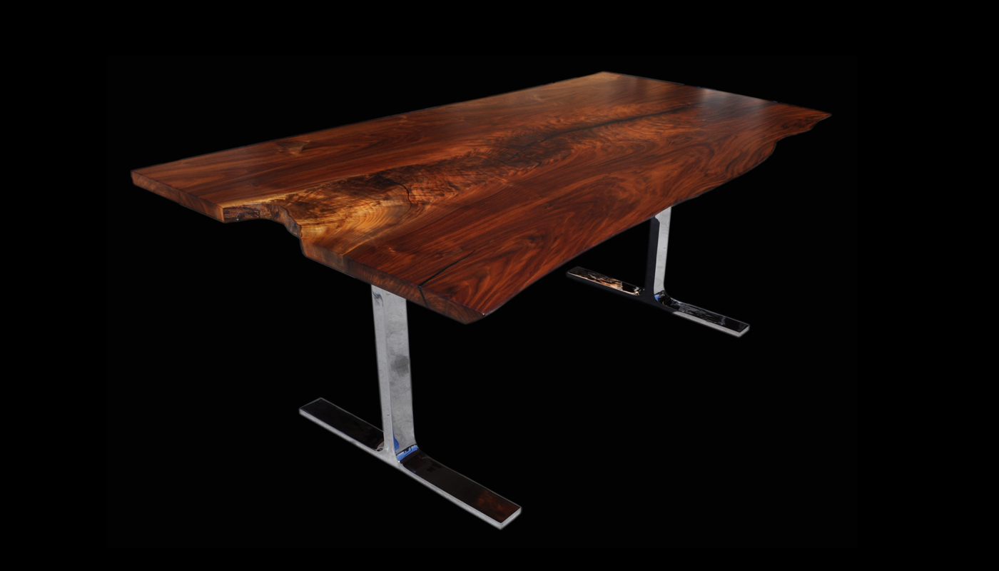 Claro-walnut Slab Table with Arc-Trestle