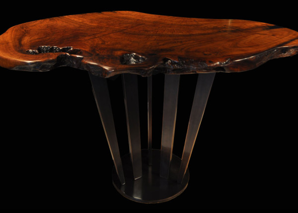 Live-edge Teak Tall Tree Table with Sunshine Oil-Rubbed Bronze