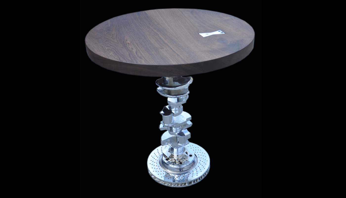 Walnut and Chrome Moto-Table