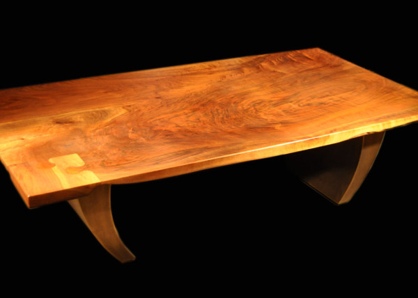 Claro-walnut Coffee Slab Table with Puzzle Piece Inlay and Inspire Bronze Legs
